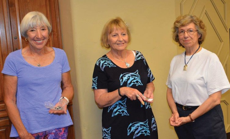 Door prize winners from left are Caraleen Ford and Jackie Hall with speaker, Gloria Quigg; Photo by Ed Skaff