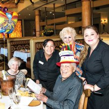Preserve Birthday Bonanza; pictured with Fred, left to right: guest Susanne Mosier, staff members Amy, Mary Lee and Kayla; photo by Rodger Bivens