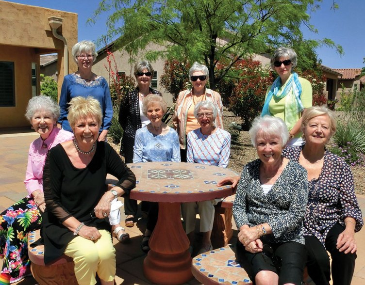 The ladies of the British Club gathered at the home of Sheila Bray in April.