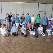 Tuesday morning in the Vermilion Room. Level 2 dancers in Line Dance with Rebecca smile for your pleasure. Dancers from HOA 1, HOA 2 and SaddleBrooke Ranch love their Tuesday morning sessions - especially as it gets hot.