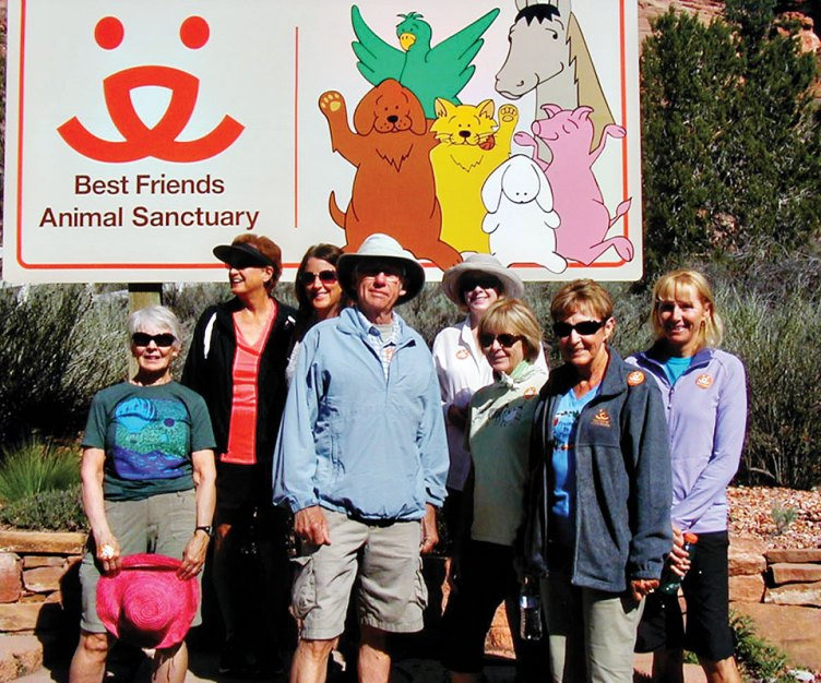 Hikers who were on the trip to Friends are, left to right: Arlene Gerety, Louise Powers, Gail Bergdahl, Joe Maurizzi, Kathy Johnston, Mary Hlusko, Sandy Rose, Joyce Maurizzi; photo by Dave Sorenson (not in picture).