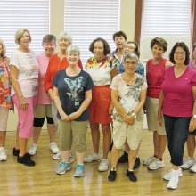 Summer fun for Level 3, the highest level in Rebecca's Line Dance classes. Here are (right to left) Kay Lantow, Barb Nicholson, Pat Wellington, Janice Motley, Pat Benter, Denise Anthony, Melanie Murphy, Karen Brungardt, Cindy Ervin, Gerry Harding, Carol Chiarello and Instructor Rebecca Magdanz. Behind the lens is Mark Magdanz; Judy Hargadon and Raye Cobb traveling