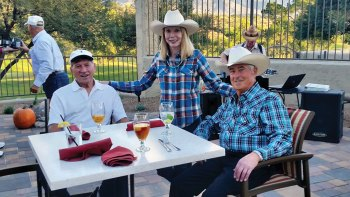 Laurie and Mike Bendon and Gene Wakefield say fetch a friend for delicious chow and a hog-killin' time!