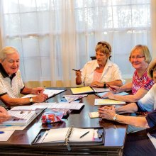 Left to right: Arlene DesJardins, David Dodd, Betsy Lowry, Margie Schulte, Faith Fromson; photo by Bob Lamb