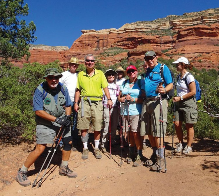 Left to right: SaddleBrooke Hikers at Boynton Canyon in Sedona: Mark Schwartz, Lonnie Bright, Dave Sorenson, Roberta Litchfield, Margaret Valair, Marlene D'Ambrosio, JP Blount, Joe D'Ambrosio and Cindy Blount.