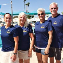 Lyn Moreno, Allison Lehman, Samantha Martoni and Craig Schaffer participated in the third annual Jamina Winston swim meet.