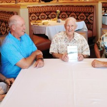 Left to right: Captain Bruce Lape, Major Scott Wilberg (both former United States Air Force pilots), Colonel Chuck GuteKunst USAF (retired) and Colonel Bill Nagy USAR, retired (President of CMSC)