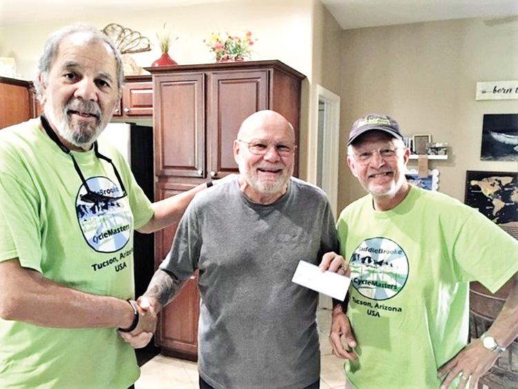 Left to right: Bob Salas (President, CycleMasters), Jerry Schudda (President, Catalina Nature Society) and Skip Brauns (Treasurer, CycleMasters)
