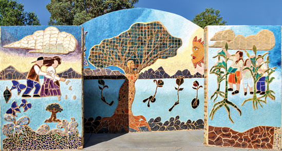 This mural is located in the El Rio Neighborhood Center, 1300 West Speedway Blvd. in Tucson.