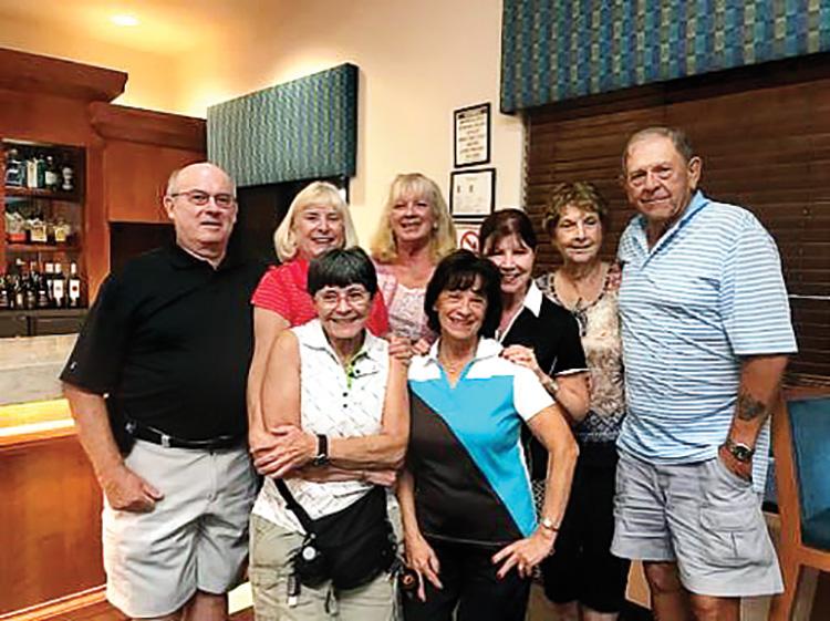 The winners. Back, left to right: Gary Vargas, Ann Cristofani, Lisa Jensema, Deb Adinolfi, Donna Vargas, and John Cobb. Front: Raye Cobb and Dottie Adams.