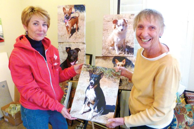 Linda Gorman and her pet art portraiture with Leslie Rocco. undefined