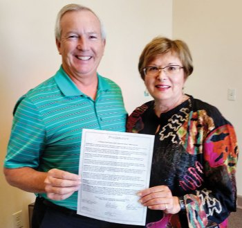 Anthony Smith, Pinal County Supervisor District 4, and Beverly Kloehn, LWV-SB Unit co-chair