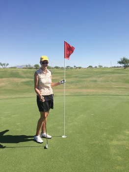 Karen McIver after her eagle on hole No. 6