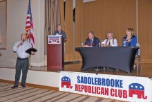The Senatorial candidates were introduced to the SaddleBrooke Republican Club members.