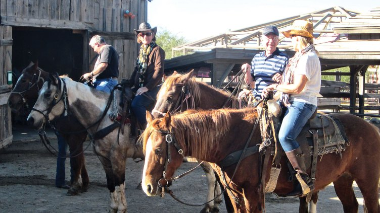 Left to right: Greg Theis, Mary Theis, Rich Tiemann and Sally Grasso saddled up for a ride at Old Tucson Studios.