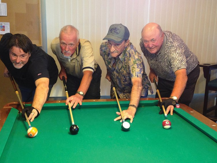 "Left to right: Tom ""Half Jacket"" Barrett, Richard ""Loose Rack"" Galant, Gary ""Bushwhacker"" Powers, Fred ""The Baker"" Dianda"