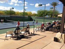 Watching the pro clinic at the Grand Stand tennis courts