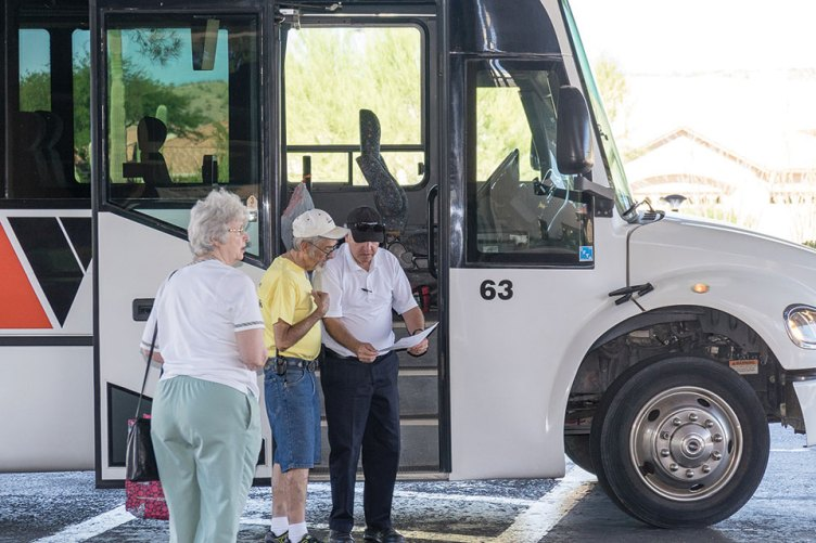 Motor coaches provide transportation from parking at MountainView to the fair at SaddleBrooke One.