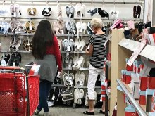 A Teen Closet shopper and SaddleBrooke Ranch resident, Corine Sturdivant, review the shoe selection at Target.