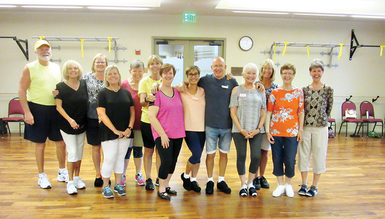 """Another great day of """"Happy Feet"""" dancing in SaddleBrooke. These day six Ranch residents (Kay behind the camera) were able to enjoy 3,000 steps and watch the first rain drops of the monsoon."""