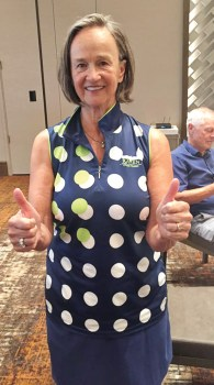 Carol Mihal gets a hole-in-one during the Community Couples event.