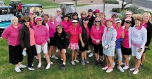 """All in pink to support their team. Everyone kicked off the first day with a great fight song to the tune of """"You Are My Sunshine,"""" written by Team Captain Carole Ericksen."""