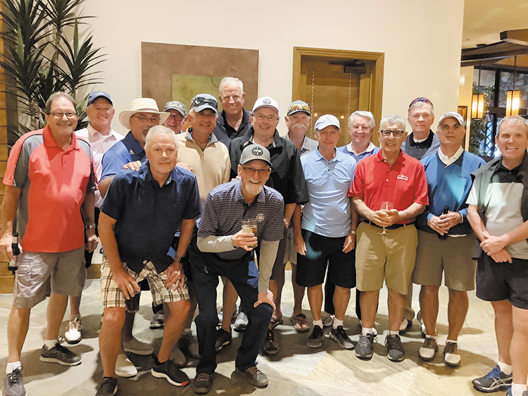 The Unit 8A Rick Dahlin Memorial Golf Tournament participants: (front, left to right): John Whitehead and Clarke Latimer; middle: Bob Townsend, Dave Blaess, Sam Calbone, Tim Pooler, Tom Tossey, Ernie Needed, Bill Oprish, and Karl Knight; back: Stan Doepke, Rick Weiland, Rich Osterlund, Frank Sherfy, Roy Thompson, and Bob Authur