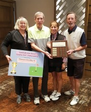 Kate and Paul Thomsen, PThomsen Consulting, LLC, SBR Couples Golf Championship sponsor, with Carol and Bill Mihal, net champions.