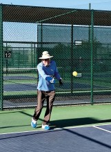 Our President, Rick Heine, still feels he needs to practice his serve.