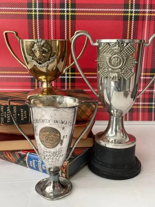 trophées d'argent équestre vintage