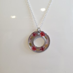 Silver Poppy and Rose Pendant