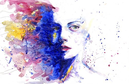 women face painted with color