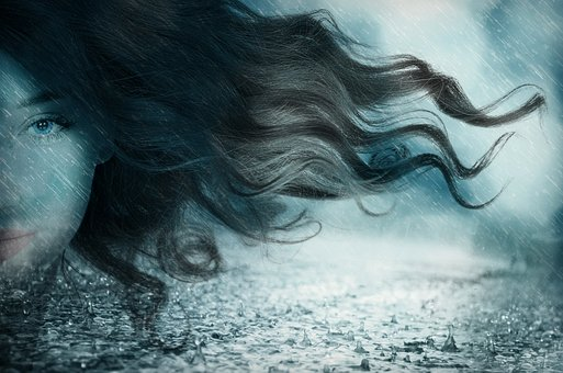women face and the rain