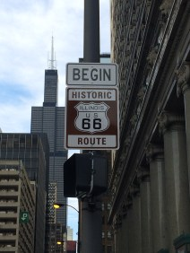 The historic sign for Route 66. Begin in Chicago!