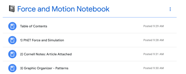Screen Shot of Google Classroom Topic Titled Force and Motion Notebook