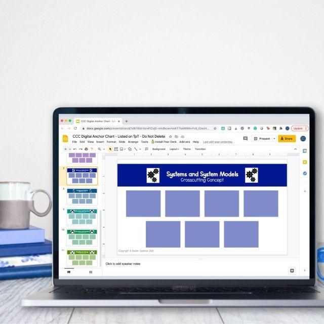 Laptop showing Google Slides Presentation of Digital Crosscutting Concept Anchor Chart