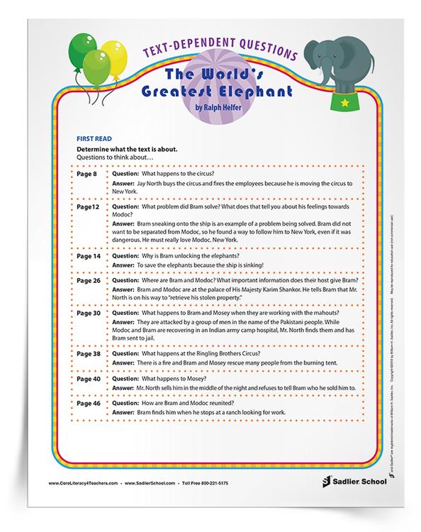 Text Dependent Questions Worksheet : dependent, questions, worksheet, Text-Dependent, Questions, Engage, Students, Close, Reading,, Grades, 2–5