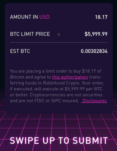 Limit order cryptocurrency robinhood