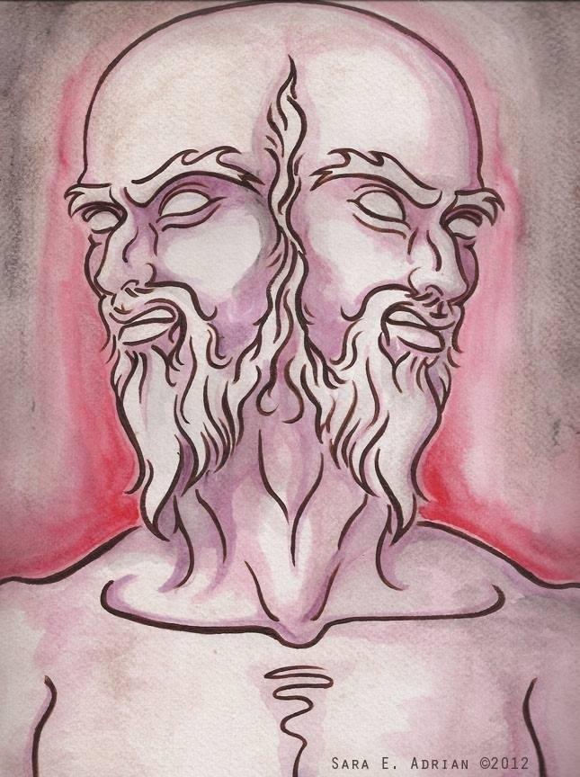 "'Janus' Acrylic wash on watercolor paper 11"" x 14"""