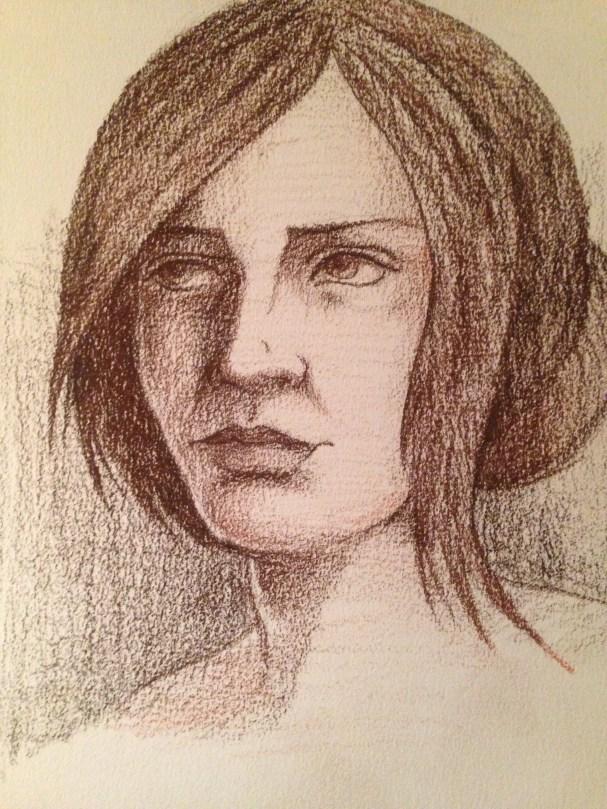 conte crayon drawing