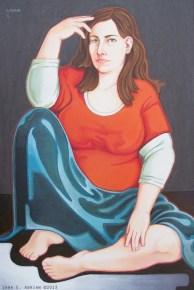 "self portrait, acrylic on wood 24"" x 36"""