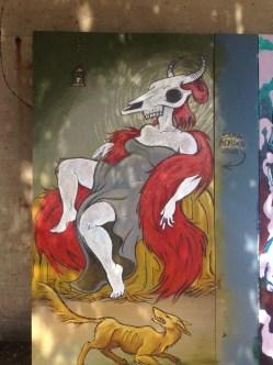 Urban Scrawl panel 2014, acrylic on wood. 4' x 8'