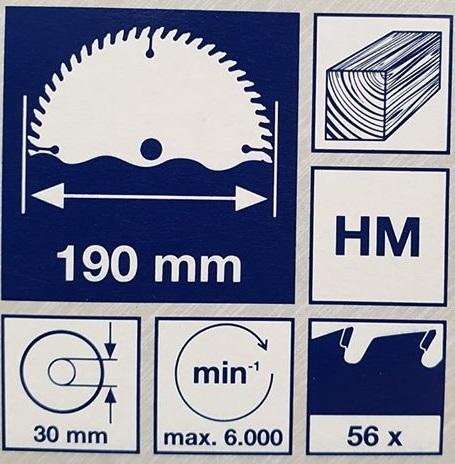 Sägeblatt Angaben zu Durchmesser, Schnittgeschwindigkeit, Bohrung, Anzahl der Zähne, Schnittbreite