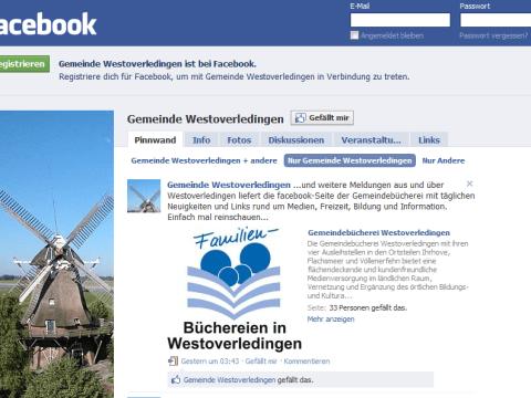 Unsere Startseite bei Facebook