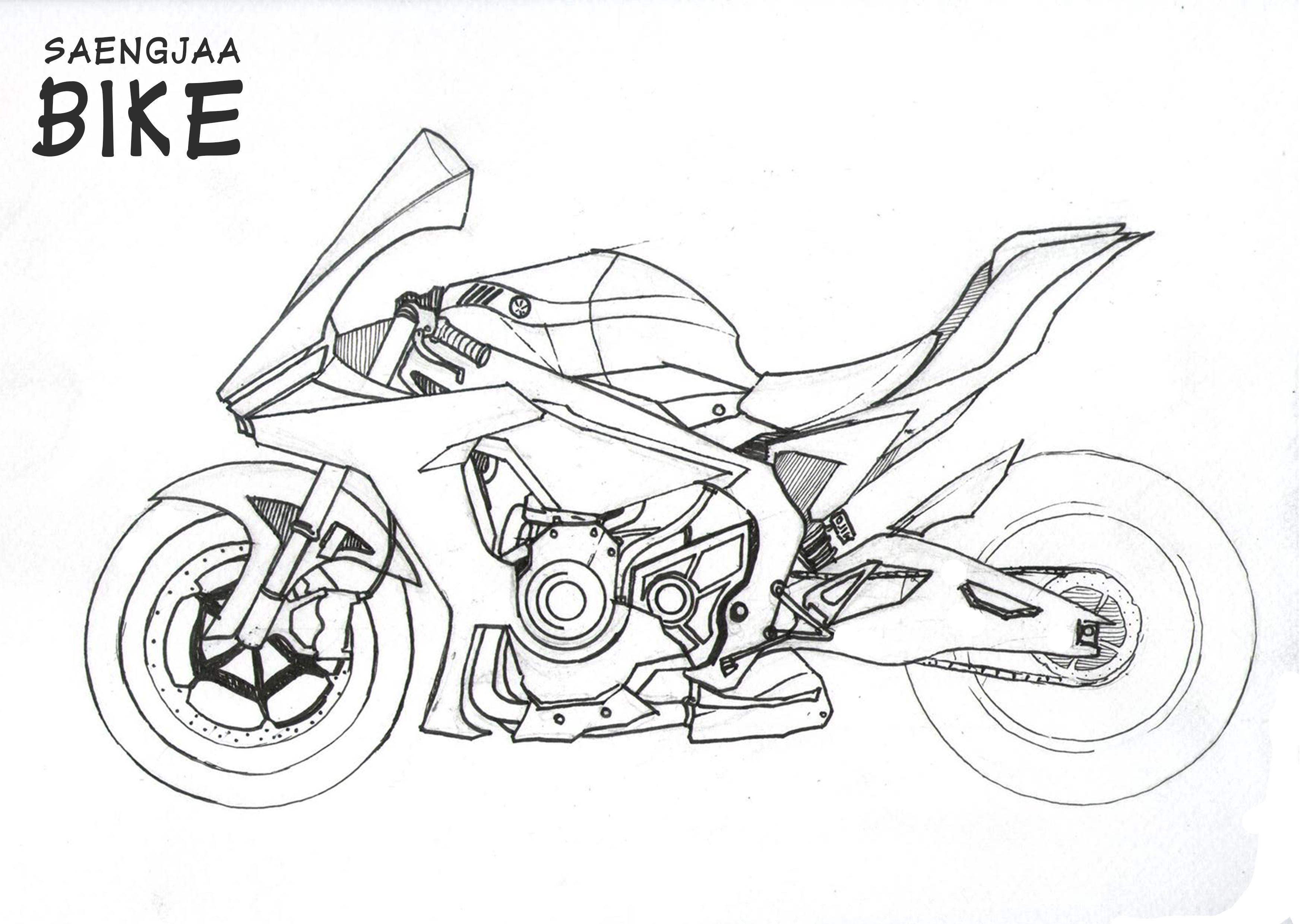 Motorcycle sketch design by Saengjaa