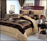 7 Piece King Size Leopard Patchwork Comforter Set