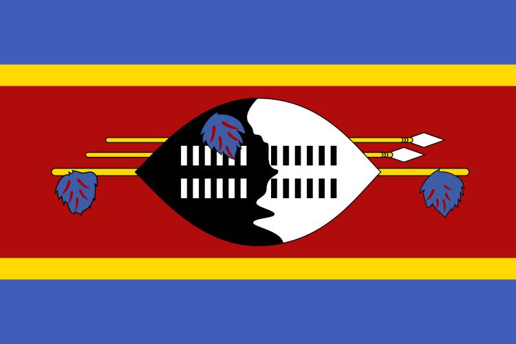 Flagge Eswatini. Auch nach der Umbenennung von Swasiland in Eswatini ist sie gleich geblieben