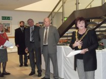 Lord Provost of Glasgow, Sadie Docherty with Robert Craig, chair of the Scottish Football Museum's trustees (centre)