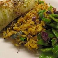 Pan-seared Cod with curried Basmati Rice, Snow Peas & Mint