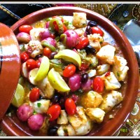 Tagine of monkfish, potatoes, cherry tomatoes and black olives